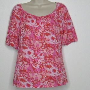 Liz & Co. Women's Petite Boho Top Pink Red White